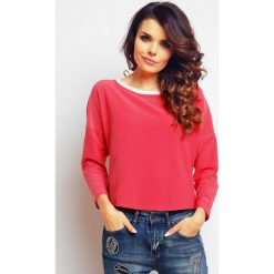 Bluzki damskie: Różowa Asymetryczna Bluzka z Rozcięciem i Kokardą