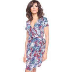 """Sukienki hiszpanki: Sukienka """"Brenda"""" w kolorze turkusowym ze wzorem"""
