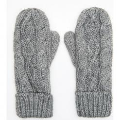 Jednopaczaste rękawiczki z ozdobnym splotem - Jasny szary. Szare rękawiczki damskie Cropp, ze splotem. Za 39,99 zł.