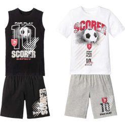 Bluzki dziewczęce z nadrukiem: T-shirt + koszulka bez rękawów + bermudy (4 części) bonprix biało-czarno-szary melanż