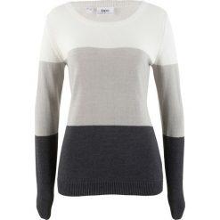 Sweter bonprix biel wełny w paski. Białe swetry klasyczne damskie bonprix, z wełny. Za 69,99 zł.