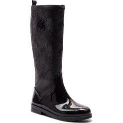 Kalosze TOMMY HILFIGER - Shiny Camo Long Rain FW0FW03602 Black 990. Czarne buty zimowe damskie TOMMY HILFIGER, ze skóry ekologicznej. Za 599,00 zł.