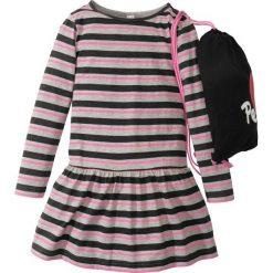 Sukienki dziewczęce: Sukienka w paski + worek sportowy (2 części) bonprix czarno-biało-różowy w paski
