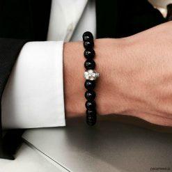 Bransoletka męska BLACK ELEGANCE. Czarne bransoletki męskie Pakamera, z kryształem, złote. Za 180,00 zł.