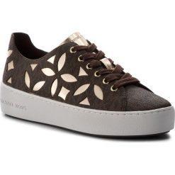 Sneakersy MICHAEL MICHAEL KORS - Mimi Lace Up 43T8MIFS1B Brn/Plgold. Czarne sneakersy damskie marki MICHAEL Michael Kors, z gumy, przed kolano, na wysokim obcasie. Za 659,00 zł.