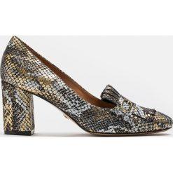 Złoto czarne czółenka damskie. Czarne buty ślubne damskie marki Kazar, z nubiku, na wysokim obcasie, na obcasie. Za 599,00 zł.