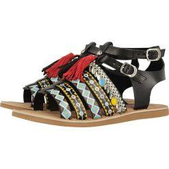 """Rzymianki damskie: Skórzane sandały """"Fedra"""" w kolorze czarnym"""