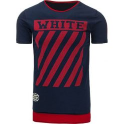 T-shirty męskie z nadrukiem: T-shirt męski z nadrukiem granatowy (rx2173)