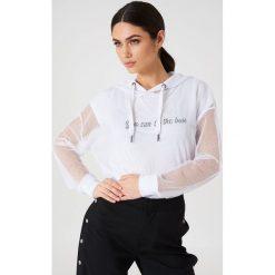 Bluzy rozpinane damskie: Rut&Circle Siateczkowa bluza oversize z kapturem - White