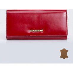 Portfele damskie: Skórzany portfel z barwnymi wstawkami