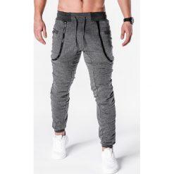 SPODNIE MĘSKIE DRESOWE P426 - GRAFITOWE. Szare spodnie dresowe męskie Ombre Clothing, z bawełny. Za 35,00 zł.