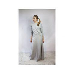 SUKIENKA DŁUGA DZIANINOWA ESER POPIEL. Niebieskie długie sukienki marki bonprix, na spacer, na lato, w koronkowe wzory, z bawełny, dopasowane. Za 142,49 zł.