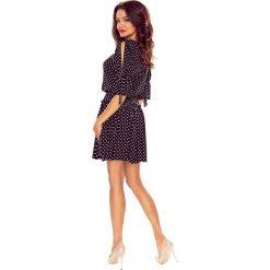 Sukienki hiszpanki: JENNIFER zwiewna sukienka czarna w grochy