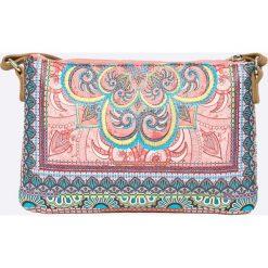 Desigual - Torebka. Brązowe torebki klasyczne damskie Desigual, z haftami, z materiału, średnie, z haftem. W wyprzedaży za 239,90 zł.
