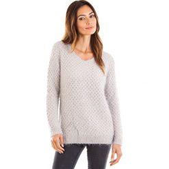 Swetry oversize damskie: Sweter w kolorze szarym