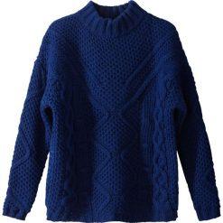 Sweter ze stójką z grubej dzianiny. Brązowe golfy damskie La Redoute Collections, l, z dzianiny. Za 191,06 zł.