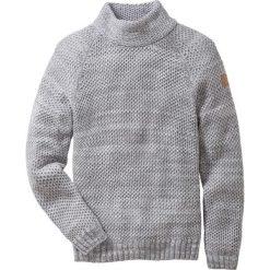 Sweter ze stójką Regular Fit bonprix szary melanż. Zielone golfy męskie marki bonprix, w kropki, z kopertowym dekoltem, kopertowe. Za 89,99 zł.