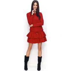 Czerwona Sukienka Dresowa z Falbanką i Wiązanymi Troczkami. Czerwone sukienki dresowe marki Molly.pl, na co dzień, l, sportowe, z falbankami, rozkloszowane. Za 119,90 zł.