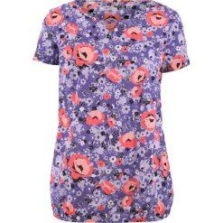 Bluzki damskie: Bluzka bawełniana, krótki rękaw bonprix lila z nadrukiem