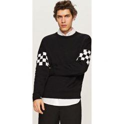 Swetry klasyczne męskie: Sweter w sportowym stylu – Czarny