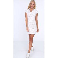 Sukienka polo w serduszka kremowa 7689. Białe sukienki marki Fasardi, l. Za 59,00 zł.