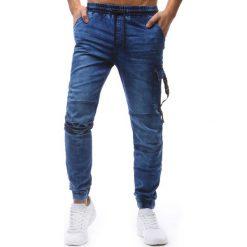 Joggery męskie: Joggery męskie denim look niebieskie (ux1240)