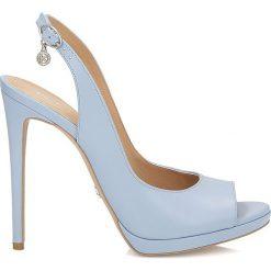 Sandały damskie: Niebieskie czółenka peep toe