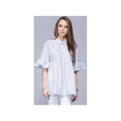 Luźna koszulowa bluzka beż.paski H011. Niebieskie bluzki damskie Harmony, xl, w paski, z bawełny, z koszulowym kołnierzykiem. Za 147,00 zł.
