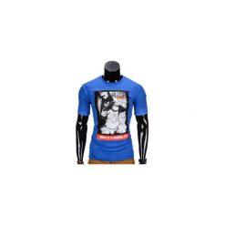 T-SHIRT MĘSKI Z NADRUKIEM S838 - NIEBIESKI. Niebieskie t-shirty męskie z nadrukiem marki Ombre Clothing, m. Za 19,99 zł.