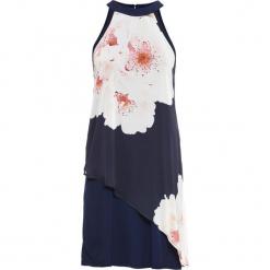 Sukienka z nadrukiem dookoła bonprix ciemnoniebieski z nadrukiem. Niebieskie sukienki letnie marki bonprix, z nadrukiem, z szyfonu. Za 79,99 zł.