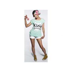 Koszulka miętowa Kizia Mizia. Zielone bluzki z odkrytymi ramionami marki ŁAP NAS, l, z nadrukiem, z bawełny, eleganckie. Za 89,00 zł.