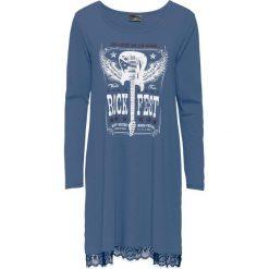 Sukienki: Sukienka shirtowa z koronkową wstawką bonprix niebieski dżins z nadrukiem