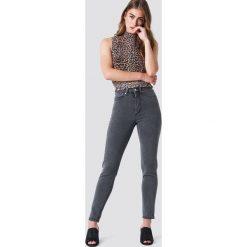 Spodnie z wysokim stanem: NA-KD Jeansy slim z wysokim stanem – Grey
