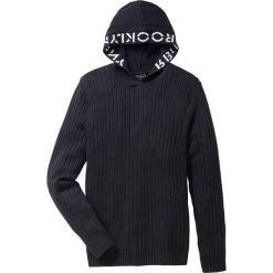 Sweter z kapturem Slim Fit bonprix czarny. Czarne swetry klasyczne męskie marki Reserved, m, z kapturem. Za 109,99 zł.