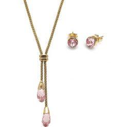 Kolczyki damskie: 2-częściowy zestaw w kolorze złoto-różowym – naszyjnik, kolczyki