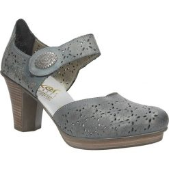 Czółenka ażurowe na słupku Rieker 47366. Czarne buty ślubne damskie marki Rieker, z materiału. Za 199,99 zł.