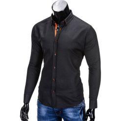 Koszule męskie na spinki: KOSZULA MĘSKA Z DŁUGIM RĘKAWEM K300 - CZARNA