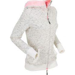 Bluzy rozpinane damskie: Bluza rozpinana z neonowymi elementami, długi rękaw bonprix biały melanż