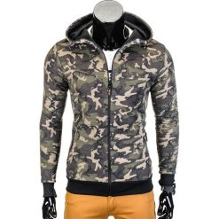 Bluzy męskie: BLUZA MĘSKA ROZPINANA Z KAPTUREM B715 – KHAKI/CAMO