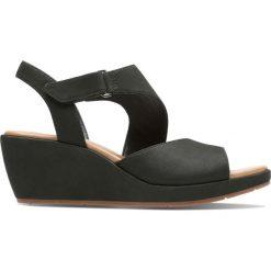 Rzymianki damskie: Sandały ze skóry zamszowej, na koturnie, Un Plaza Sling