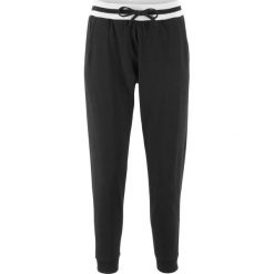 Spodnie dresowe damskie: Spodnie dresowe z paskami, krótsze nogawki bonprix czarny