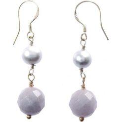 Kolczyki damskie: Srebrne kolczyki z perłami i chalcedonami