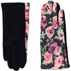 Rękawiczki damskie: Art of Polo Rękawiczki damskie Romantyczne kwiaty czarno-różowe