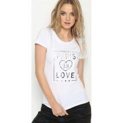 T-shirty damskie: Biały T-shirt Brugh