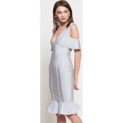 Missguided - Sukienka. Szare sukienki na komunię marki Missguided, na co dzień, s, z elastanu, casualowe, midi, dopasowane. W wyprzedaży za 99,90 zł.