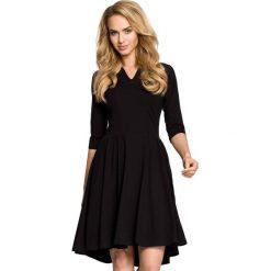 Czarna Sukienka Rozkloszowana z Rękawem 1/2. Czarne sukienki balowe marki Molly.pl, na spotkanie biznesowe, l, z tkaniny, z dekoltem na plecach, dopasowane. Za 129,90 zł.