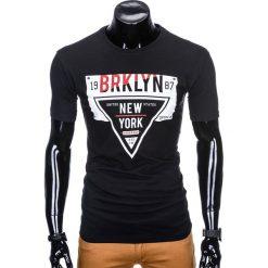 T-shirty męskie: T-SHIRT MĘSKI Z NADRUKIEM S939 – CZARNY