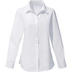 Bluzka bonprix biały. Białe bluzki asymetryczne bonprix, klasyczne, z klasycznym kołnierzykiem, z długim rękawem. Za 44,99 zł.