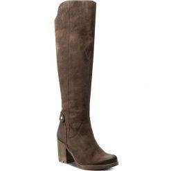 Kozaki KARINO - 2161/007-F Brąz. Brązowe buty zimowe damskie marki Kazar, ze skóry, przed kolano, na wysokim obcasie. W wyprzedaży za 299,00 zł.