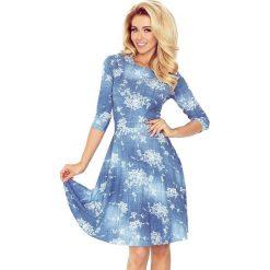 Paulina Rozkloszowana sukienka z rękawkiem. Szare sukienki na komunię numoco, s, w kwiaty, z jeansu, rozkloszowane. Za 169,99 zł.